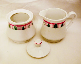 Holiday Creamer and Sugar Bowl Set- Porcelain with Xmas Trees Red Border Design-Crafted  in Japan
