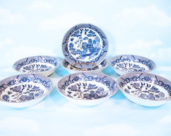 Blue Willow ice cream or dessert bowls, set of 7