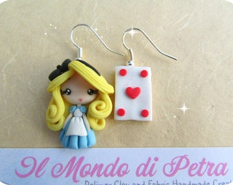 Alice in Wonderland Polymer Clay Earrings Handmade