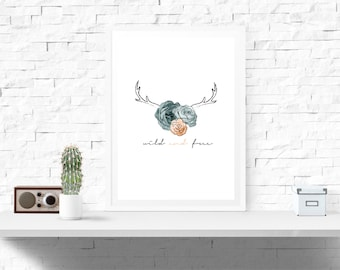 A4 Wild and Free Decor Print