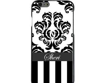 Hard Snap-On Case for Apple 5 5S SE 6 6S 7 Plus - CUSTOM Monogram - Any Colors - Black White Damask Stripes