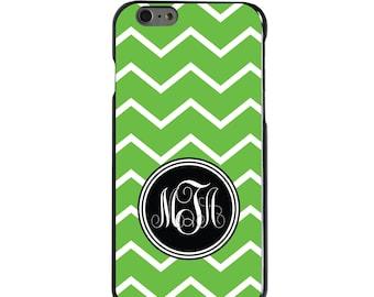 Hard Snap-On Case for Apple 5 5S SE 6 6S 7 Plus - CUSTOM Monogram - Any Colors - Green White Chevron Initial