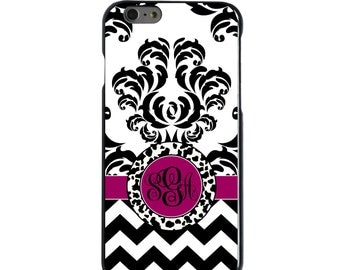 Hard Snap-On Case for Apple 5 5S SE 6 6S 7 Plus - CUSTOM Monogram - Any Colors - Black White Fuchsia Damask Chevron