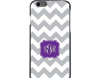 Hard Snap-On Case for Apple 5 5S SE 6 6S 7 Plus - CUSTOM Monogram - Any Colors - Grey White Chevron Purple Frame