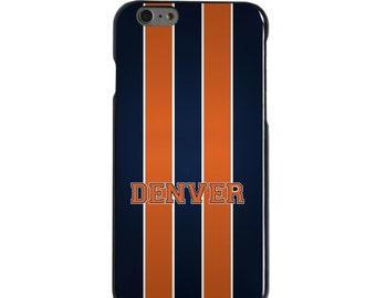 Hard Snap-On Case for Apple 5 5S SE 6 6S 7 Plus - CUSTOM Monogram - Any Colors - Orange Navy Broncos