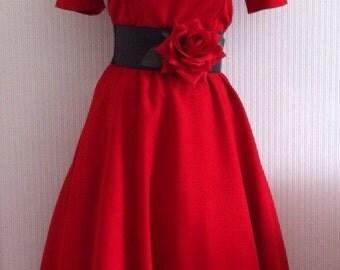 red rose rockerbilly dress 1950 1940 hollywood gown uk 14 usa 12 full skirt belt retro jive