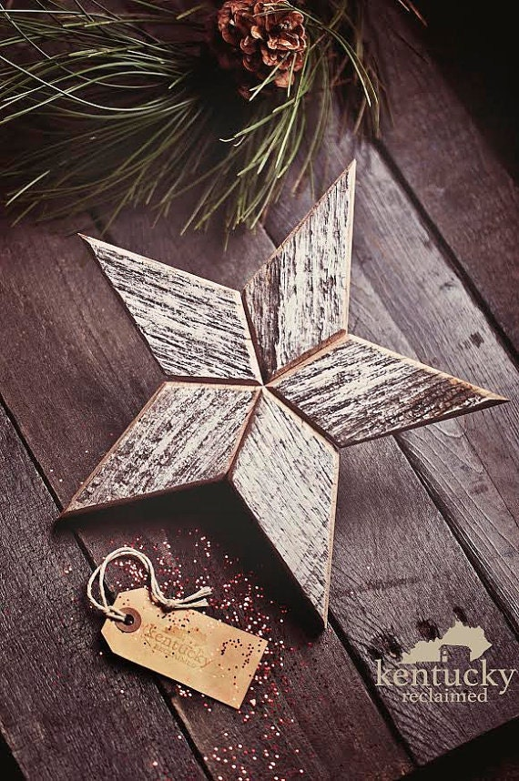 White Star Christmas Tree Topper Decoration- 10 inch star tree topper made from white reclaimed wood