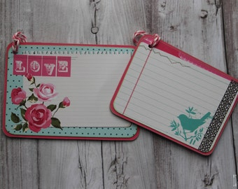 Pink Floral Bird Gift Tag Set