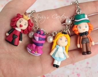 Bracelet Alice in Wonderland in polymer clay