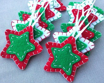 10 red and green star ornaments, green Christmas tree decorations, green star decor, holiday ornies, felt fabric hanging star shapes