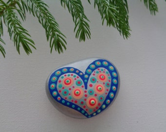 VALENTINE / Hand Painted Beach Stone / Pebble Art /Dot Painted Stone /Home Decor / Decorative Rock/ Abstract / LOVE / Original / Paperweight
