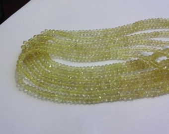 Natural AAA quality Lemon quartz micro faceted rondelle beads size 4.5-5mm sold per 14-inch strand GW522