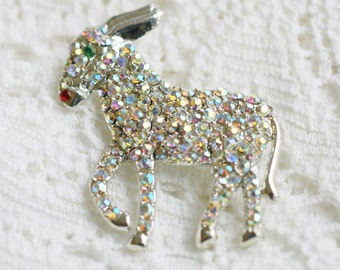Donkey Political Figural Brooch Pin, Vintage Silver Tone and Rhinestone Encrusted