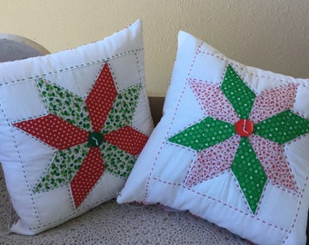 """Christmas pillow, quilted, 12"""" square"""
