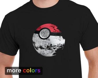 Pokemon Star Wars Death Star Mens T-shirt, Pikachu Darth Vader R2D2 Yoda Tee