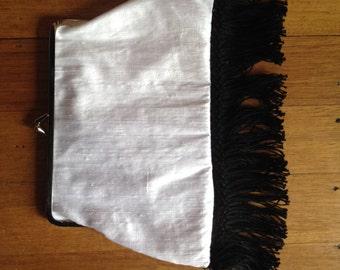 Silk Clutch with Black Fringe