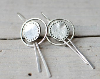 earring silver solid, creole, ethnic, Bohemian, long loop, 925 Silver
