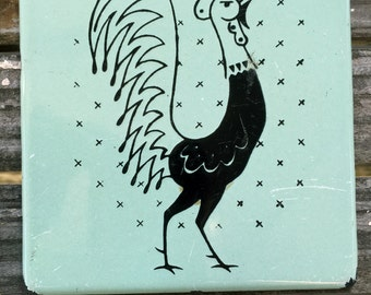 Frigidaire Promotional Porcelain Enamelware Chicken Rooster Hot Pads or Trivets