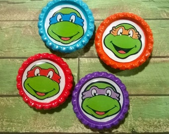 Set of Four Ninja Turtles Magnets on Various Colored Bottle Caps