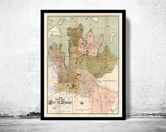 Old Map of Sydney Australia 1889