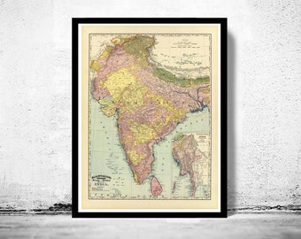 Old Map of  India 1897 Asia