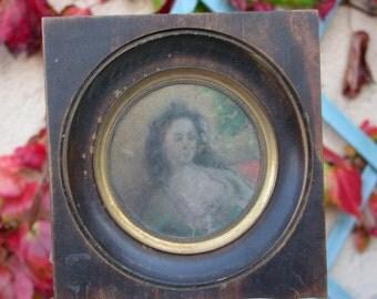 Magnificent french antique Portrait Painting Miniature Hand painted Circa 1880 gilt bronze ormolu frame
