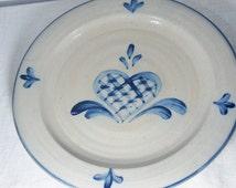 "vintage Rowe Pottery Salt Glazed Plates Lattice Heart Large Dinner 11 1/4"" RPW 7 available"
