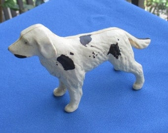 Vintage Celluloid White & Black Spotted Dog  Hollow Figurine TLC