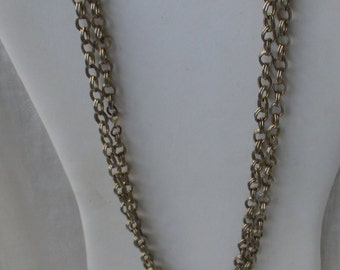 Retro Double Link Long Chain Necklace Needs New Clasp