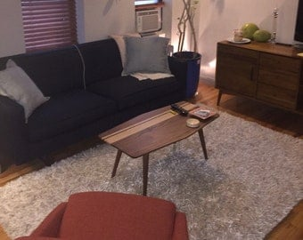 Surfboard Coffee Table, Mid Century, Walnut Coffee Table With Maple and Splayed Legs