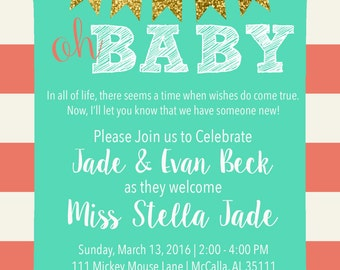 Gold, Teal and Dark Coral Baby Shower Invitation