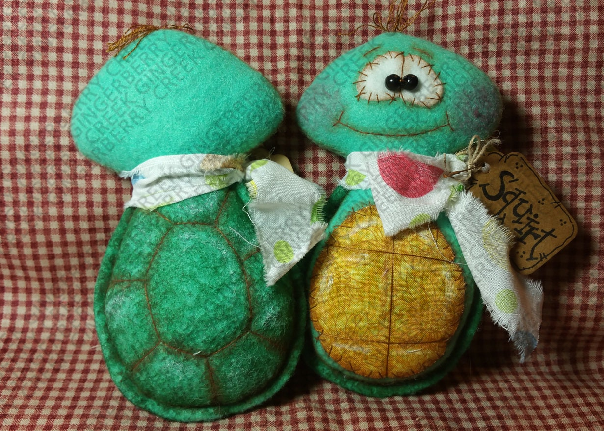 scooter and squirt turtles pattern 170   primitive doll
