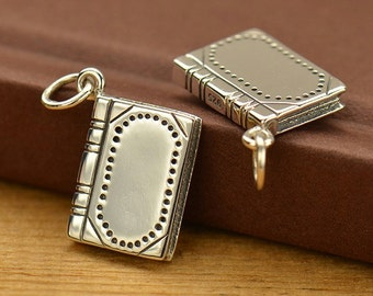 Sterling Silver Realistic Book Charm