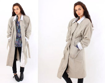Vintage 80's Coat / Women Classic Coat /  Oversized Coat / Duster / 80s Trenchcoat / Woen Trench Coat / Size M / L