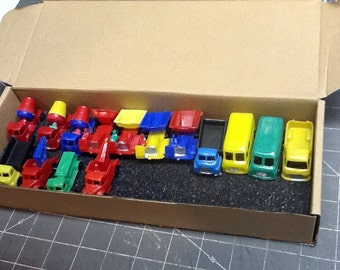 vintage blue bow plastic toy cars and trucks loose 15 peices nos