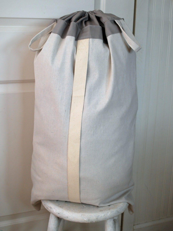 Hanging Hamper Laundry Bag Gray Drawstring Bag With