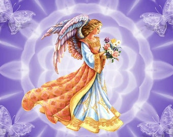 Angel with Flowers and Butterflies Cross Stitch Pattern 14 or 18 ct. Aida