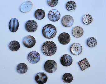 1875 - 1930 Carved Mother of Pearl Buttons, Antique Small Medium Large Buttons, Carved MOP Set of 24 Buttons Smokey Gray Brown