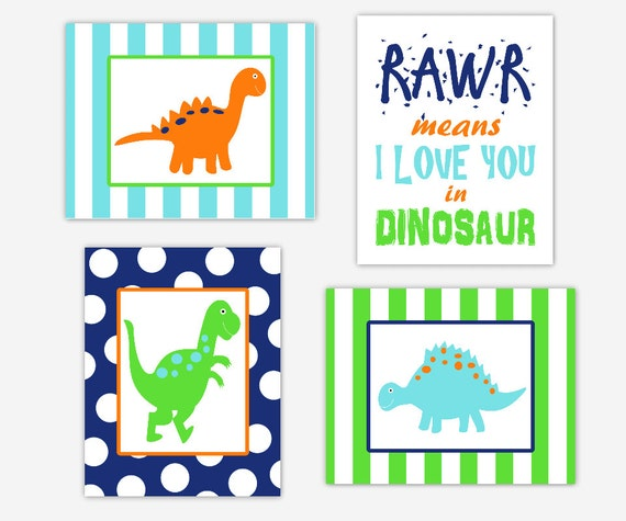 Dinosaur Wall Art Baby Boy Nursery Prints RAWR Means I Love You In
