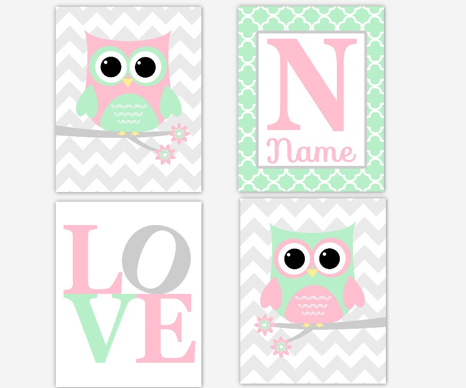Pink And Green Wall Decor For Nursery : Girl nursery wall art pink gray mint green owl birds