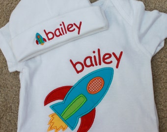 Personalized Applique Baby Onepiece Bodysuit and Cap - Rocket