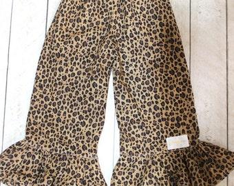 Leopard Ruffle pants Girls birthday safar zoo fall ruffle pants Toddler ruffle pants ruffle pants black and brown cheetah fabric ruffle pant