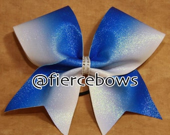 Blue to White Ombre Glitter Cheer Bow