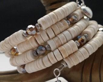 Cream Magnesite & Cinnamon Glass Crystal Beads Memory Wire Bracelet.