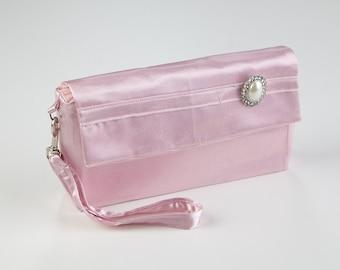 Pink Evening Clutch Bag- Clutch Purse- Wristlet Purse- Pink Clutch Handbag- Evening Purse