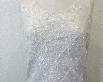 Vintage 1950s/60s White Full-Beaded Sequined Sweater Vest Top