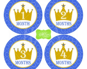 Prince Baby Monthly Stickers - Baby Bodysuit Stickers - Crown Monthly Baby Stickers -Boy Monthly Stickers - Crown Milestone Stickers - 030