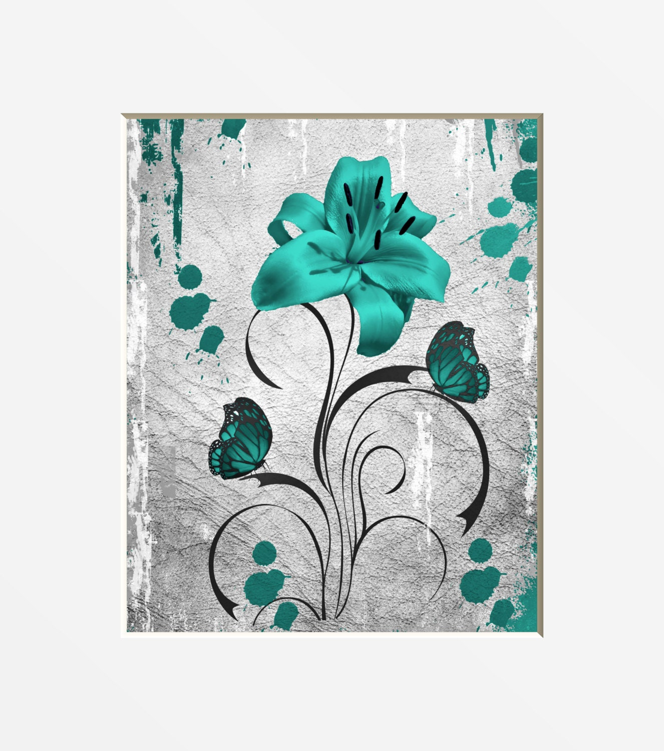 Teal Gray Wall Pictures Teal Gray Lily Flower Butterfly