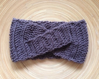 Criss Cross Crochet Headband in Taupe