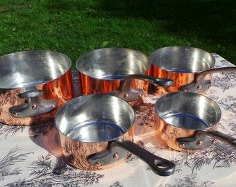 Copper Pans Five Vintage French 2mm Copper Cast Iron Handles 6.47 Kilos 14lbs 2 ozs Quality Copper Antique Pans New Tin Normandy Kitchen